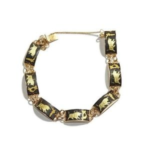 Vintage Damascene Bullfighting Panel Bracelet